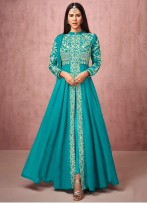 Faux Georgette Blue Anarkali Salwar Kameez