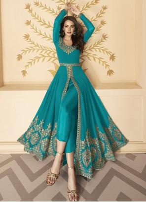 Faux Georgette Blue Anarkali Salwar Suit