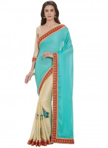 Faux Georgette Blue and Cream Embroidered Casual Saree