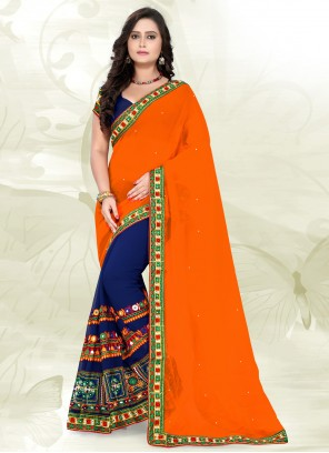 Faux Georgette Blue and Orange Embroidered Half N Half Trendy Saree