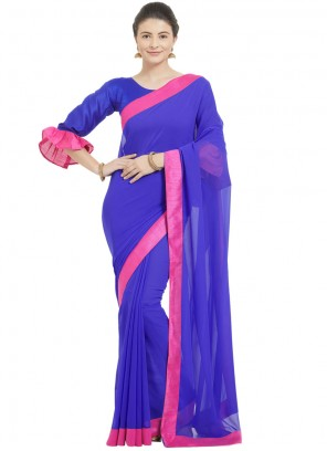 Faux Georgette Blue Casual Saree