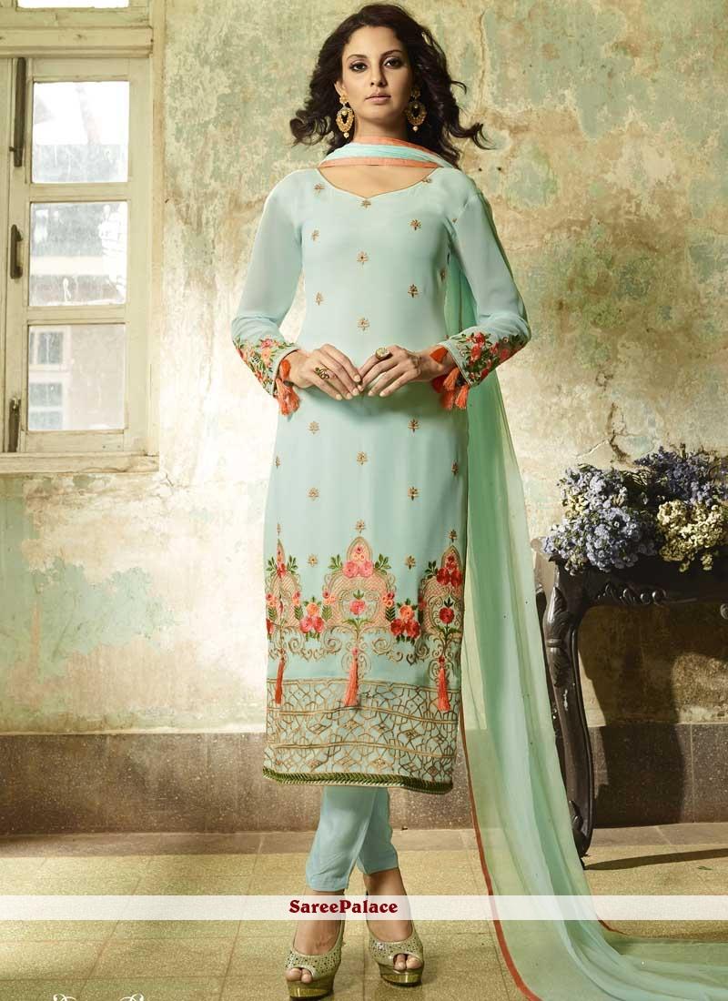 Faux Georgette Blue Churidar Designer Suit