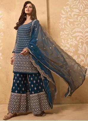 Faux Georgette Blue Designer Palazzo Salwar Kameez