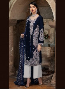 Faux Georgette Blue Embroidered Designer Pakistani Suit