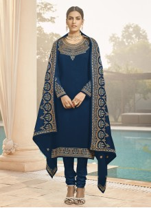 Faux Georgette Blue Embroidered Designer Straight Suit