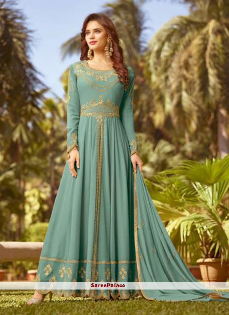 Faux Georgette Blue Embroidered Floor Length Anarkali Suit