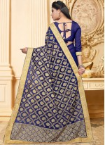 Faux Georgette Blue Embroidered Saree