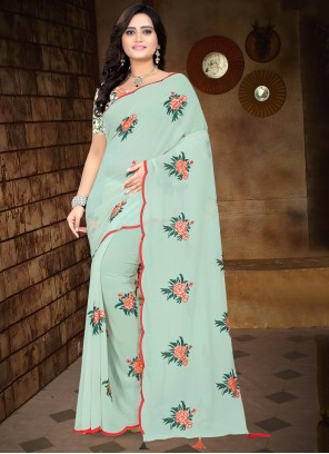Faux Georgette Blue Embroidered Traditional Saree