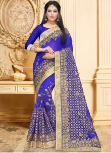 Faux Georgette Blue Patch Border Classic Saree