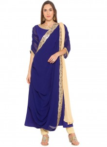 Faux Georgette Blue Readymade Suit