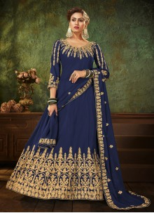 Faux Georgette Blue Resham Floor Length Anarkali Suit