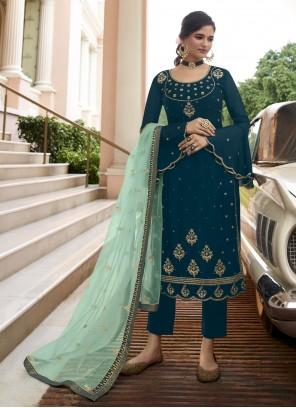 Faux Georgette Blue Resham Pant Style Suit