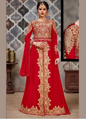 Faux Georgette Bollywood Salwar Kameez in Red