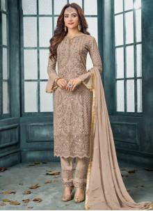 Faux Georgette Brown Designer Salwar Kameez