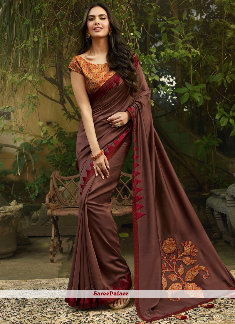 Faux Georgette Brown Embroidered Classic Saree