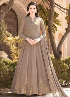 Faux Georgette Brown Embroidered Floor Length Anarkali Salwar Suit