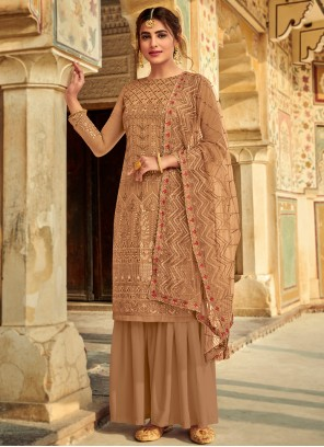 Faux Georgette Brown Embroidered Palazzo Salwar Kameez