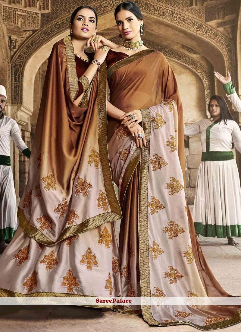 Faux Georgette Brown Thread Work Designer Saree