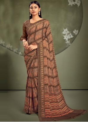 Faux Georgette Casual Saree in Brown