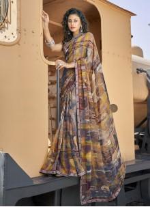 Faux Georgette Casual Saree in Multi Colour