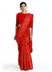Faux Georgette Casual Saree in Red