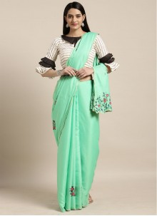 Faux Georgette Casual Saree in Turquoise