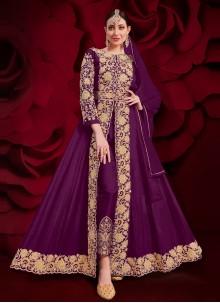 Purple Faux Georgette Ceremonial Anarkali Suit