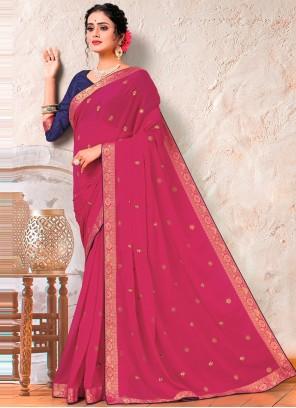 Pink Faux Georgette Embroidered Designer Saree