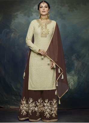 Brown Faux Georgette Ceremonial Designer Palazzo Suit