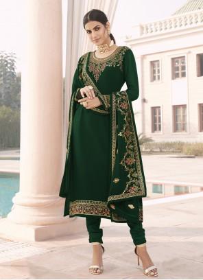 Faux Georgette Green Ceremonial Designer Straight Suit