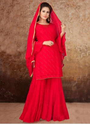 Faux Georgette Ceremonial Hot Pink Readymade Suit