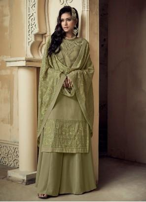 Faux Georgette Ceremonial Trendy Salwar Suit
