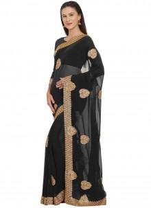 Black Faux Georgette Classic Designer Saree