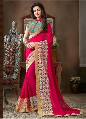 Faux Georgette Hot Pink Lace Classic Designer Saree