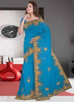 Faux Georgette Classic Designer Saree in Blue