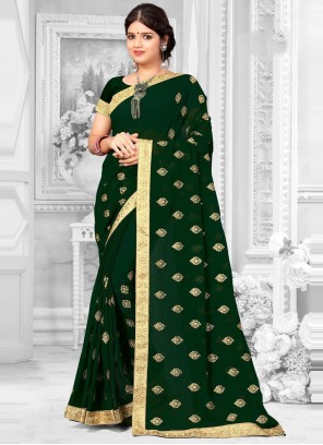 Faux Georgette Green Patch Border Classic Saree