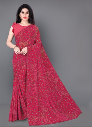 Faux Georgette Classic Saree in Maroon