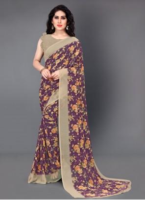 Faux Georgette Classic Saree in Multi Colour