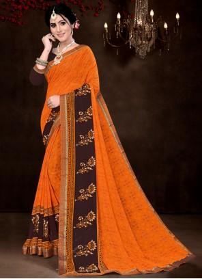 Faux Georgette Classic Saree in Orange