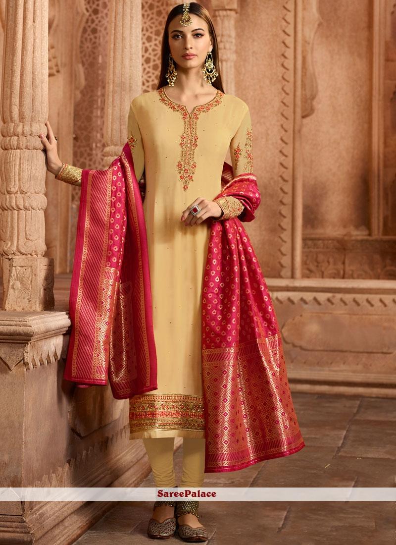2ec2505cd Buy Faux Georgette Cream Embroidered Churidar Designer Suit Online