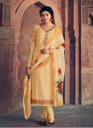 Faux Georgette Cream Embroidered Designer Straight Suit