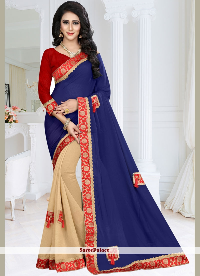 Faux Georgette Designer Half N Half Saree in Blue and Cream