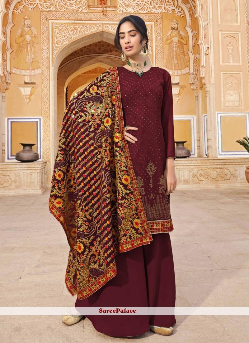 Maroon Faux Georgette Designer Pakistani Salwar Suit