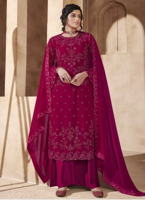 Faux Georgette Designer Pakistani Salwar Suit in Magenta