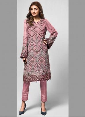 Faux Georgette Designer Pakistani Salwar Suit in Pink