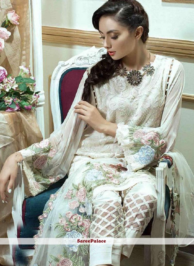 White Faux Georgette Designer Pakistani Suit
