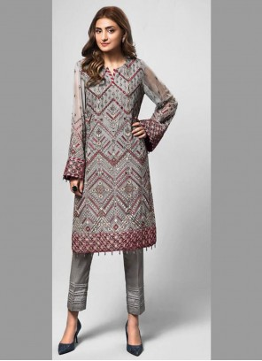 Grey Faux Georgette Designer Pakistani Suit