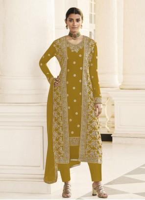 Faux Georgette Mustard Designer Pakistani Suit