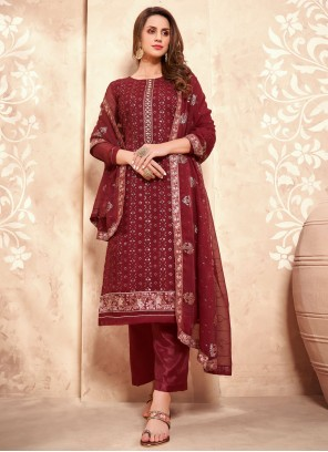 Maroon Faux Georgette Designer Pakistani Suit