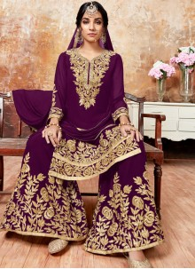 Faux Georgette Designer Pakistani Suit in Purple